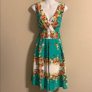 Dressbarn green bird floral dress size 14